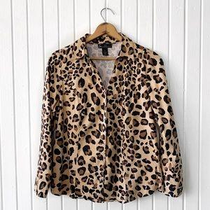 Lane Bryant Cheetah Print Button Down Top